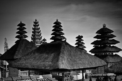 Pagodas in the Pura Besakih Temple complex in Bali, Indonesia