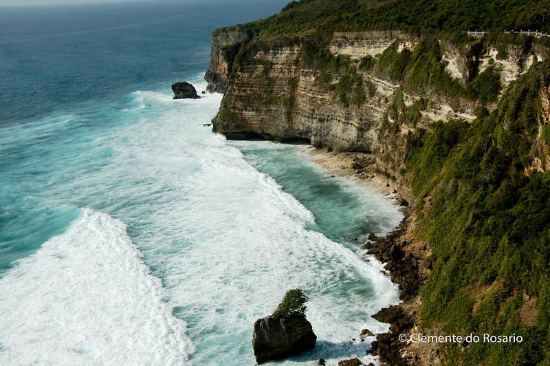 Dramatic cliffs carved by the sea in Uluwatu, Bali, Indonesia