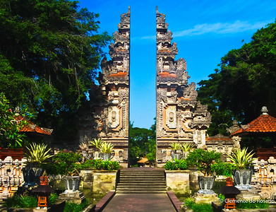 A 'Candi Bentar'  gate at the Nusa Dua Beach Hotel in Bali, Indonesia