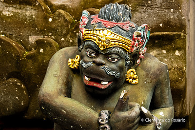 A colourful sculpture in the Pura Ulun Danu Batur Temple in Bali Indonesia