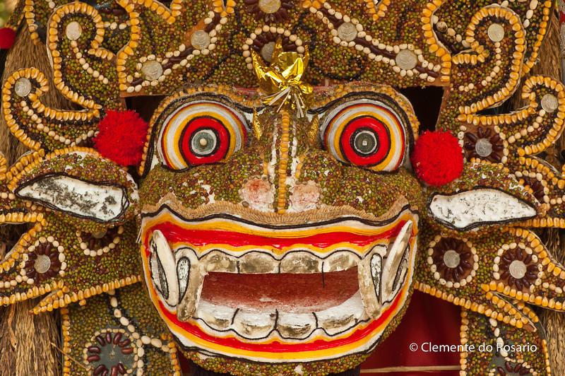 Balinese Mask in the Pura Taman Ayun temple in Mengwi, Bali, Indonesia