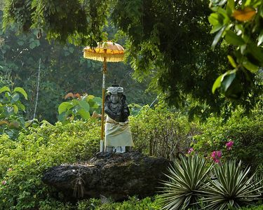One of many small temples and shrines found throughout Bali.  This one was on the adjacent golf course.