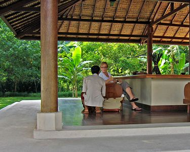 Waiting area for boat to Moyo Island