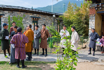 Bhutanese men in traditional dress
