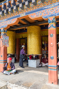 Sheri and the big prayer wheel