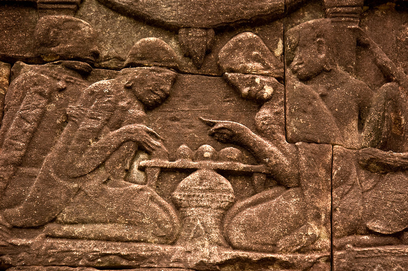 Relief carving of game players, Angkor Thom