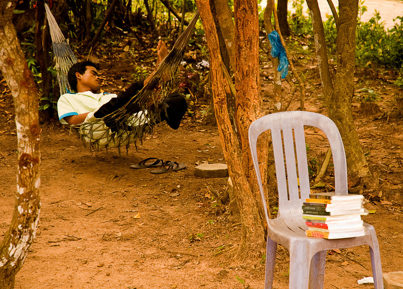 Bookseller on break at Angkor Thom