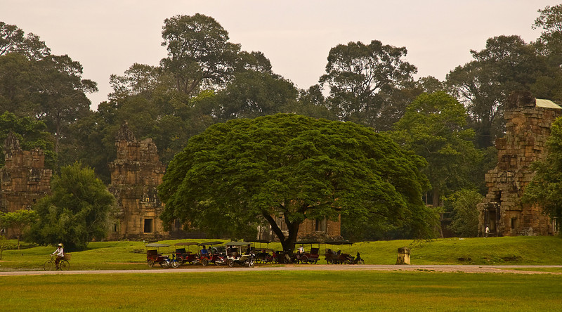 Shade and shelter for drivers at Angkor Thom