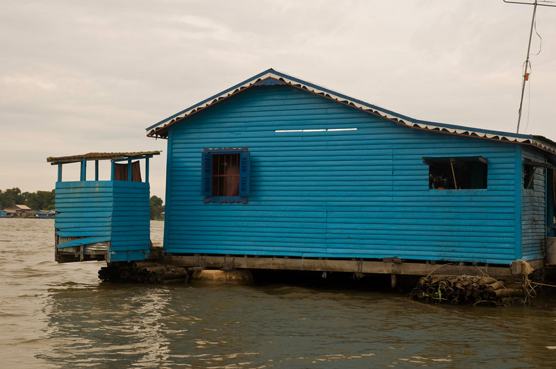 House (and outhouse) in floating village on the Tonlé Sap at Kompong Chhnang
