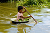 Boatman on the Tonlé Sap at Kompong Chhnang floating village