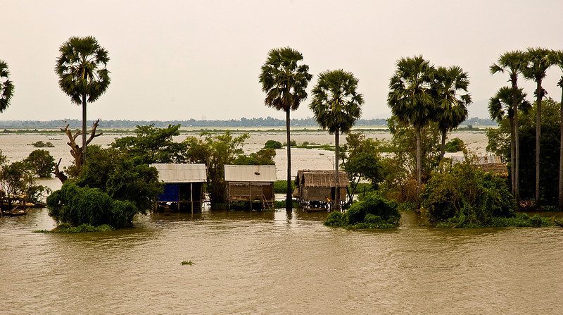 Raised homes on the Tonlé Sap at flood