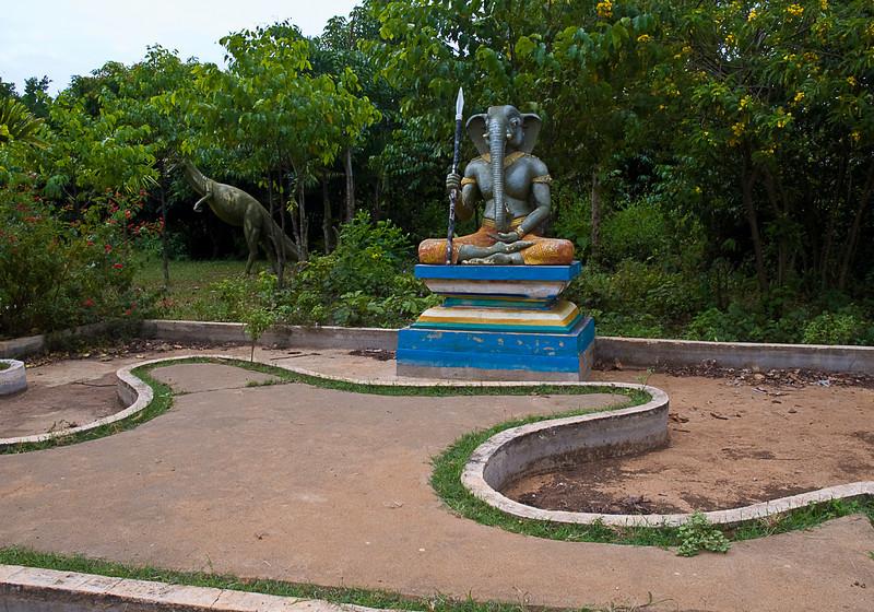 Ganeesha and velociraptor, Kompong Cham temple complex