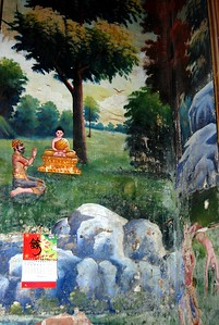 Wall painting inside Buddhist temple, Phnom Penh, Cambodia 2007