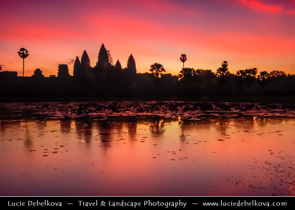 Asia - Cambodia - Prasat Angkor Wat - Largest Khmer temple complex in world - UNESCO World Heritage Site - One of the most important archaeological sites in South-East Asia stretching over some 400 km2 containing magnificent remains of the different capitals of the Khmer Empire from the 9th to the 15th century - Angkor Wat - Angkor Vat Temple - The best-preserved temple at the site - The only one to have remained a significant religious centre since its foundation - Very early morning sunrise