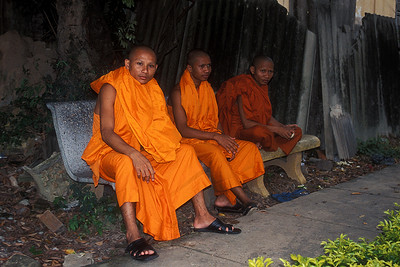 Phnom Penh - Monks on a Bench