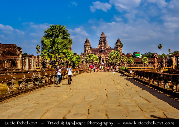 Asia - Cambodia - Prasat Angkor Wat - Largest Khmer temple complex in world - UNESCO World Heritage Site - One of the most important archaeological sites in South-East Asia stretching over some 400 km2 containing magnificent remains of the different capitals of the Khmer Empire from the 9th to the 15th century - Angkor Wat - Angkor Vat Temple - The best-preserved temple at the site - The only one to have remained a significant religious centre since its foundation