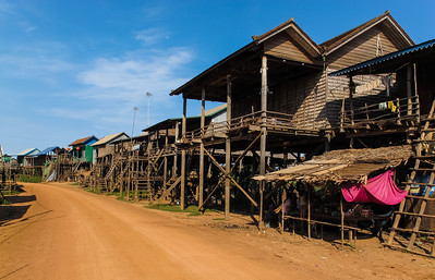 Houses on stilts to accommodate rainy season flooding