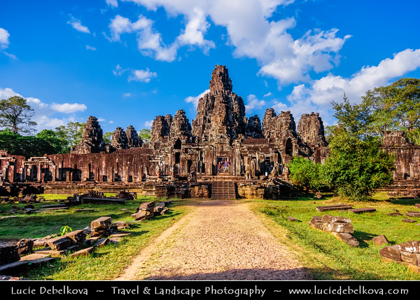 Asia - Cambodia - Prasat Angkor Wat - Largest Khmer temple complex in world - UNESCO World Heritage Site - One of the most important archaeological sites in South-East Asia stretching over some 400 km2 containing magnificent remains of the different capitals of the Khmer Empire from the 9th to the 15th century - Bayon Temple -  Prasat Bayon - Well-known & richly decorated Khmer temple with multitude of serene & massive stone faces on its many towers