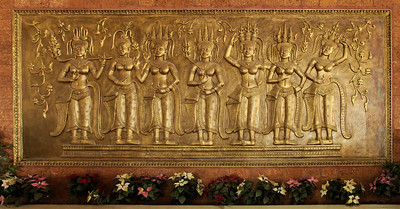 Moc Bai, Vietnam-Cambodia border Bronze artwork of Cambodian Apsara Dancers at the Moc Bai border station, Moc Bai, Cambodia.