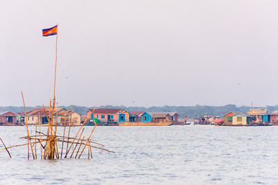 Colorful Houseboats on Tonle Sap Lake, Cambodia