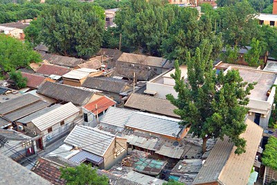 We could see the hutong rooftops from our hotel window