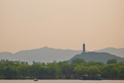Smog over the lake at the summer palace