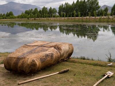 A yak hide canoe