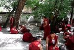 Monks at Sera Monastery, debating. The hand clap indicates a question has been asked, and a response demanded.