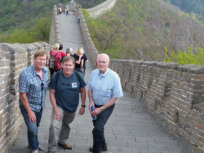 Bill, Steve, and dad on the Great Wall of China<br /> Mutianyu Section, Beijing