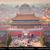 Asia - China - North China - Beijing - Peking - 北京 - Forbidden City - UNESCO World Heritage Site - Chinese imperial palace complex from Ming Dynasty up Qing Dynasty - Palace Museum - China's largest & best-preserved collection of ancient buildings - Aerial View from Jingshan Imperial Park - Gate of Divine Prowess - 神武门 - Northernmost Palace Gate offering typical architecture with columns & 2 roofs