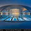 Asia - China - North China - Beijing - Peking - 北京 - National Centre for the Performing Arts - NCPA - The Egg - Opera house in Beijing - Impressive ellipsoid dome of titanium and glass surrounded by artificial lake - Dusk - Twilight - Blue Hour - Night