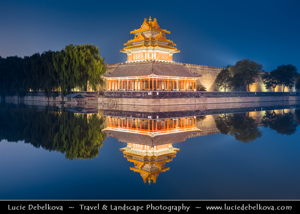 Asia - China - North China - Beijing - Peking - 北京 - Forbidden City - UNESCO World Heritage Site - Forbidden City Walls with Corner Tower - Palace defensive & retaining walls - 7.9 metres (26 ft) high city walls & 6 metres (20 ft) deep by 52 metres (171 ft) wide moat - Dusk - Twilight - Blue Hour - Night