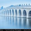 Asia - China - North China - Beijing - Peking - 北京 - Kunming Lake - Central lake on grounds of Summer Palace Gardens - Famous Seventeen-Arch Bridge - Shiqikong Qiao