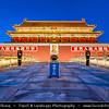 "Asia - China - North China - Beijing - Peking - 北京 - Tiananmen - Tian'anmen - 天安门 - ""Gate of Heavenly Peace"" - Famous monumental gate & national symbol - Dusk - Twilight - Blue Hour - Night"