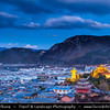 Asia - China - Southwest China - Yunnan Province - Diqing Tibetan Autonomous Prefecture - Shangri-La City - Zhongdian - Xianggelila - Gyalthang - Gyaitang - Beautifully preserved Ancient Tibetian town at Elevation of 3,160 m (10,370 ft) - Guishan Temple - Buddhist monastery with the biggest prayer wheel in the world (21 meters in height & 60 tonnes in weight) - Dusk - Twilight - Blue Hour - Night