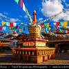 Asia - China - Southwest China - Yunnan Province - Diqing Tibetan Autonomous Prefecture - Shangri-La City - Zhongdian - Xianggelila - Gyalthang - Gyaitang - Beautifully preserved Ancient Tibetian town at Elevation of 3,160 m (10,370 ft) - Dukezong Old Town - Tibetan Buddhist white stupa with prayer flags