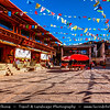 Asia - China - Southwest China - Yunnan Province - Diqing Tibetan Autonomous Prefecture - Shangri-La City - Zhongdian - Xianggelila - Gyalthang - Gyaitang - Beautifully preserved Ancient Tibetian town at Elevation of 3,160 m (10,370 ft) - Dukezong Old Town - Square with prayer flags