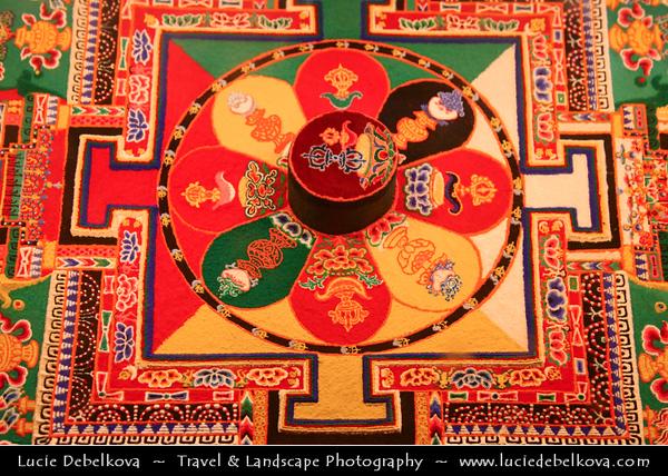 "Asia - China - Tibet - Lhasa - Tibetian capital on Tibetan Plateau at altitude of 3,490 metres (11,450 ft) - Sera Monastery - Wild Roses Monastery - One of the ""great three"" Gelug university monasteries of Tibet - Beautiful Mandala created from sand"