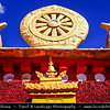 Asia - China - Tibet - Lhasa - Tibetian capital on Tibetan Plateau at altitude of 3,490 metres (11,450 ft) - Drepung Monastery - Largest of all Tibetan monasteries located on the Gambo Utse Mountain - Dharma Tibetan Buddhism Symbol Wheel Of Life and Two Deer
