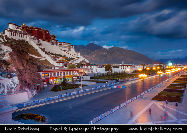 Asia - China - Tibet - Lhasa - Tibetian capital on Tibetan Plateau at altitude of 3,490 metres (11,450 ft) - Potala Palace - UNESCO World Heritage Site - Complex of White and Red Palaces with their ancillary buildings built on Red Mountain in the centre of Lhasa Valley - Winter palace of Dalai Lama since the 7th century - Symbol of Tibetan Buddhism - Masterpiece of Tibetan art