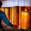 Asia - China - Tibet - Lhasa - Tibetian capital on Tibetan Plateau at altitude of 3,490 metres (11,450 ft) - Drepung Monastery - Largest of all Tibetan monasteries located on the Gambo Utse Mountain - Spinning Prayer Wheel