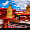 Asia - China - Tibet - Lhasa - Tibetian capital on Tibetan Plateau at altitude of 3,490 metres (11,450 ft) - Jokhang Temple - Qoikang Monastery - Jokang - Jokhang Temple - Jokhang Monastery - Zuglagkang - Most sacred and important temple in Tibet for most Tibetans - Temple's architectural style is mixture of Indian vihara design, Tibetan and Nepalese design - Dharma Tibetan Buddhism Symbol Wheel Of Life and Two Deer
