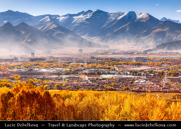 Asia - China - Tibet - Lhasa - Tibetian capital on Tibetan Plateau at altitude of 3,490 metres (11,450 ft) - View over Lhasa from Drepung Monastery - Largest of all Tibetan monasteries located on the Gambo Utse Mountain