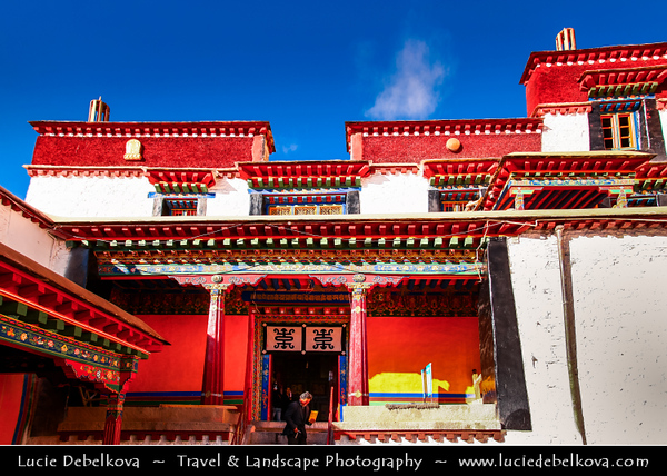 Asia - China - Tibet - Lhasa - Tibetian capital on Tibetan Plateau at altitude of 3,490 metres (11,450 ft) - Drepung Monastery - Largest of all Tibetan monasteries located on the Gambo Utse Mountain