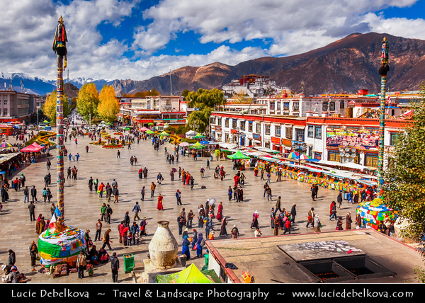Asia - China - Tibet - Lhasa - Tibetian capital on Tibetan Plateau at altitude of 3,490 metres (11,450 ft) - Barkhor Square - Area of traditional narrow streets around Jokhang Temple, popular devotional circumabulation for pilgrims and locals