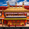 Asia - China - Tibet - Lhasa - Tibetian capital on Tibetan Plateau at altitude of 3,490 metres (11,450 ft) - Jokhang Temple - Qoikang Monastery - Jokang - Jokhang Temple - Jokhang Monastery - Zuglagkang - Most sacred and important temple in Tibet for most Tibetans - Temple's architectural style is mixture of Indian vihara design, Tibetan and Nepalese design