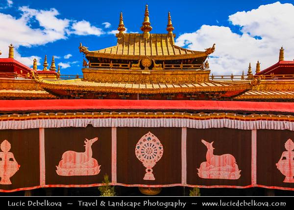 Asia - China - Tibet - Lhasa - Tibetian capital on Tibetan Plateau at altitude of 3,490 metres (11,450 ft) - Jokhang Temple - Qoikang Monastery - Jokang - Jokhang Temple - Jokhang Monastery - Zuglagkang - Most sacred and important temple in Tibet for most Tibetans - Temple's architectural style is mixture of Indian vihara design, Tibetan and Nepalese design