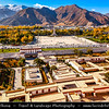 Asia - China - Tibet - Lhasa - Tibetian capital on Tibetan Plateau at altitude of 3,490 metres (11,450 ft) - View from Potala Palace - UNESCO World Heritage Site - Complex of White and Red Palaces with their ancillary buildings built on Red Mountain in the centre of Lhasa Valley - Winter palace of Dalai Lama since the 7th century - Symbol of Tibetan Buddhism - Masterpiece of Tibetan art