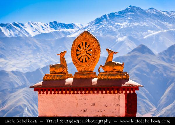 Asia - China - Tibet - Lhasa - Tibetian capital on Tibetan Plateau at altitude of 3,490 metres (11,450 ft) - Drepung Monastery - Largest of all Tibetan monasteries located on the Gambo Utse Mountain - Dharma Tibetan Buddhism Symbol Wheel Of Life and Two Deer