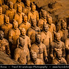 Asia - China - Central China - Shaanxi Province - Xian - Xi'an - 西安 - Xī'ān - Ancient capital of China - Emperor Qinshihuang's Mausoleum Site Museum - UNESCO World Heritage Site - Attraction renowned for lifelike sculptures of terra-cotta warriors built around 3rd century BC - Terracotta Army collection - Sculptures depicting armies of Qin Shi Huang, first Emperor of China